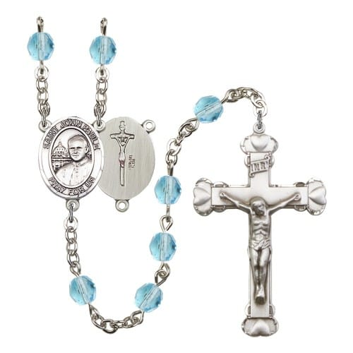St. John Paul II Aqua Blue March Rosary 6mm