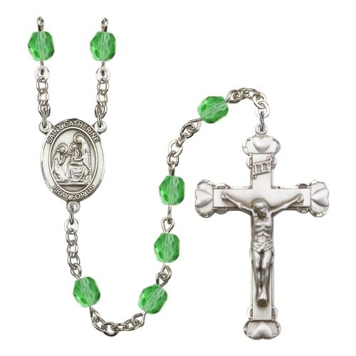 St. Catherine Of Siena Green August Rosary 6mm