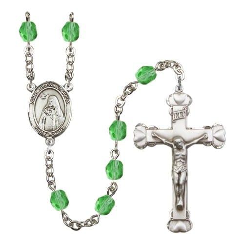 St. Teresa Of Avila Green August Rosary 6mm