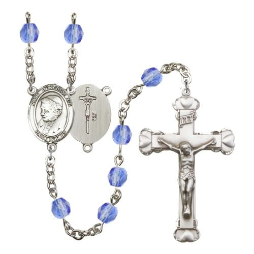 Pope Emeritace Benedict Xvi Blue September Rosary 6mm