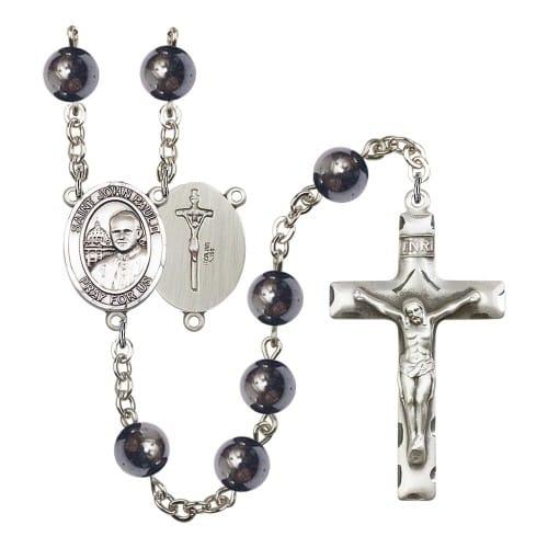 St. John Paul II 8mm Hematite Rosary