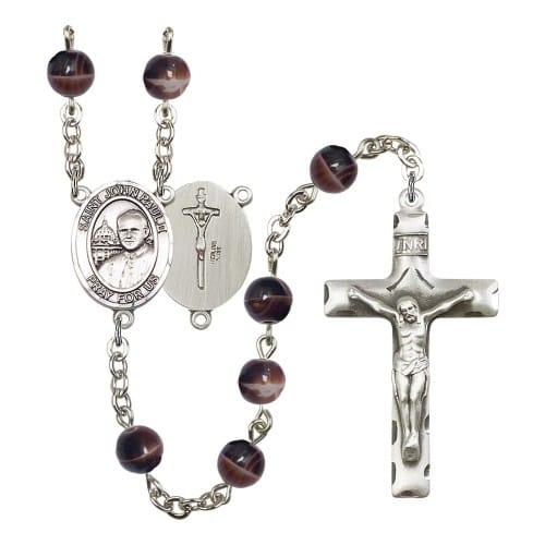St. John Paul II 7mm Brown Rosary