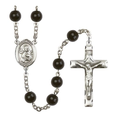 St. John The Apostle 7mm Black Onyx Rosary