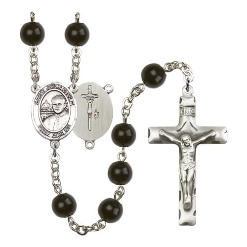 St. John Paul II 7mm Black Onyx Rosary
