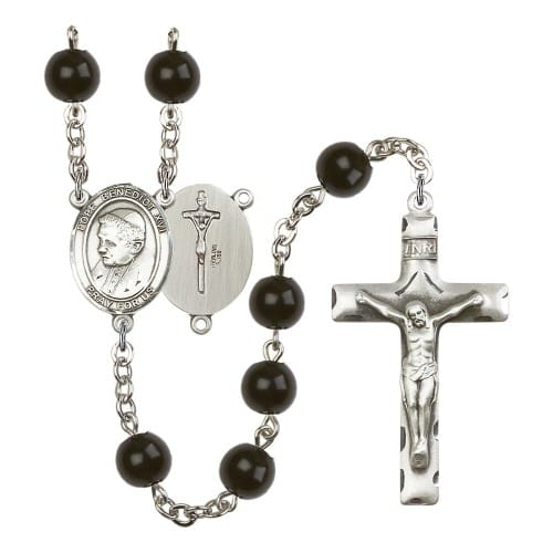 Pope Emeritus Benedict XVI 7mm Black Onyx Rosary