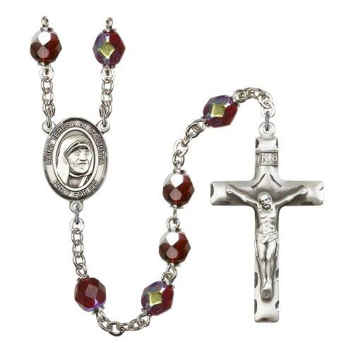 Blessed Teresa Of Calcutta Red January Lock Link Auraro Borealis Rosary 7mm