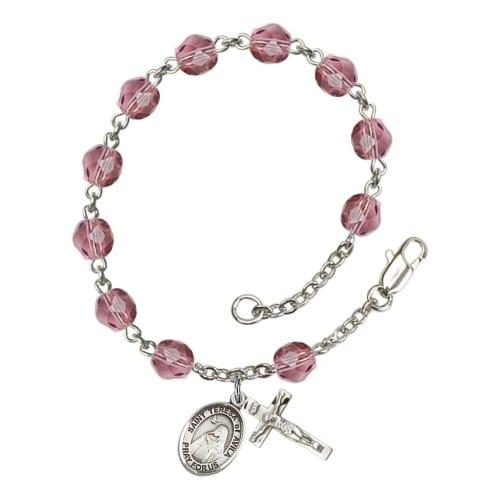 St. Teresa Of Avila Purple February Rosary Bracelet 6mm