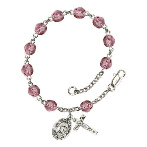 Blessed Teresa Of Calcutta Purple February Rosary Bracelet 6mm