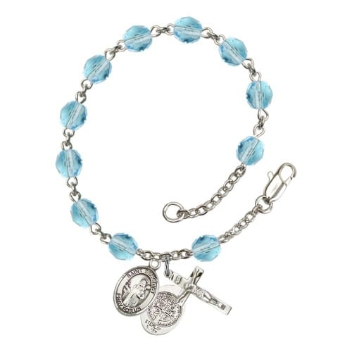 St. Benedict Aqua Blue March Rosary Bracelet 6mm