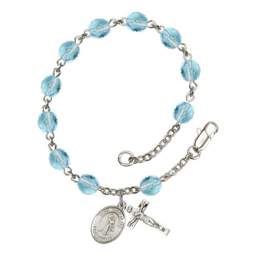 St. Joan Of Arc Aqua Blue March Rosary Bracelet 6mm