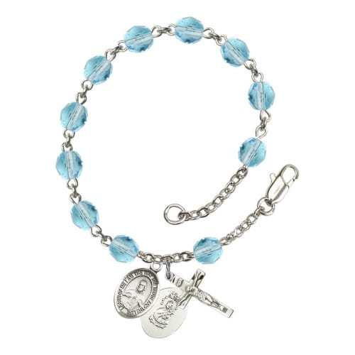 Scapular Aqua Blue March Rosary Bracelet 6mm