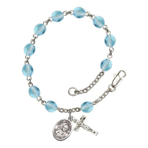 St. John Paul II Aqua Blue March Rosary Bracelet 6mm