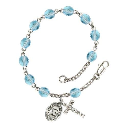 Blessed Teresa Of Calcutta Aqua Blue March Rosary Bracelet 6mm