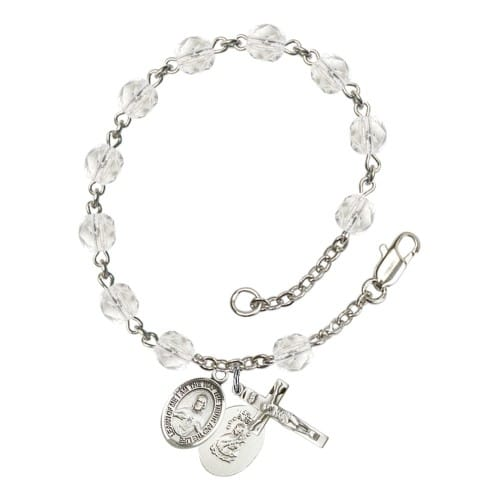 Scapular Crystal April Rosary Bracelet 6mm
