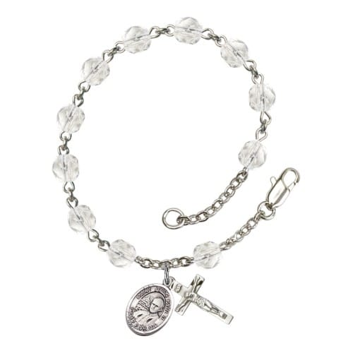 St. John Paul II Crystal April Rosary Bracelet 6mm
