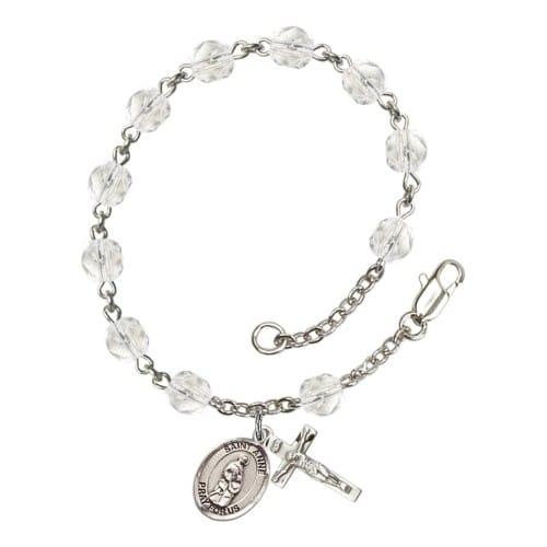 St. Anne Crystal April Rosary Bracelet 6mm