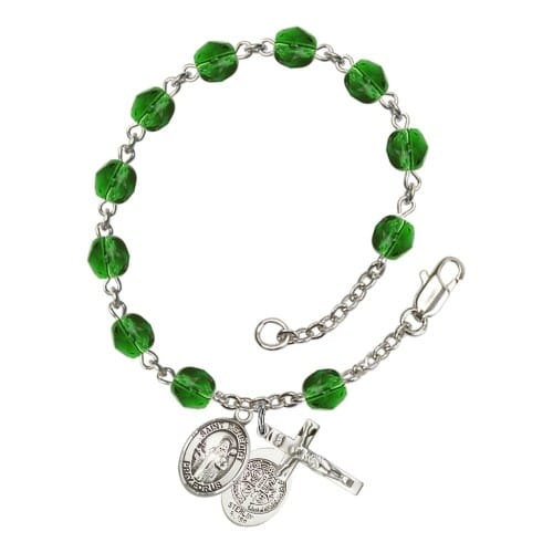 St. Benedict Green May Rosary Bracelet 6mm