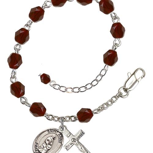 St. Anne Red January Rosary Bracelet 6mm