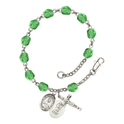 Scapular Green August Rosary Bracelet 6mm