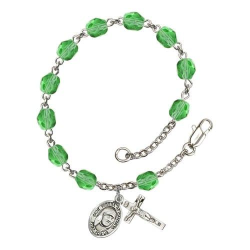 Blessed Teresa Of Calcutta Green August Rosary Bracelet 6mm