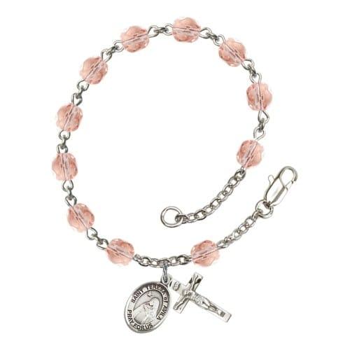 St. Teresa Of Avila Pink October Rosary Bracelet 6mm