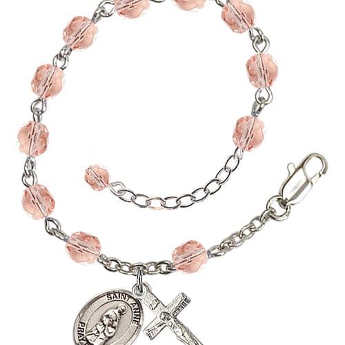 St. Anne Pink October Rosary Bracelet 6mm