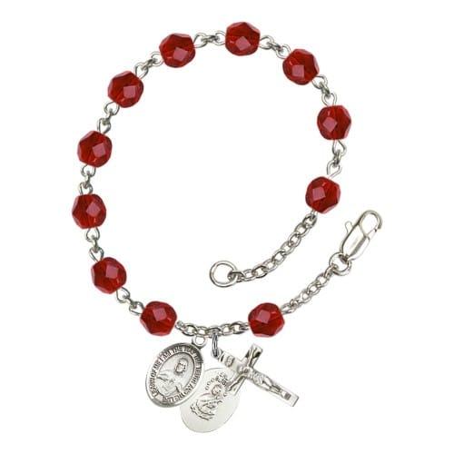 Scapular Red July Rosary Bracelet 6mm