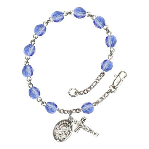 St. Francis De Sales Blue September Rosary Bracelet 6mm