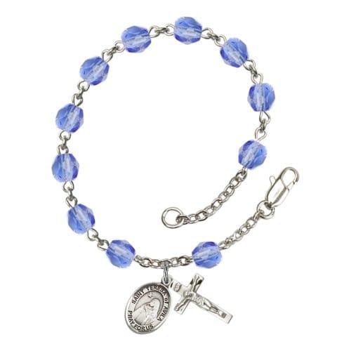 St. Teresa Of Avila Blue September Rosary Bracelet 6mm