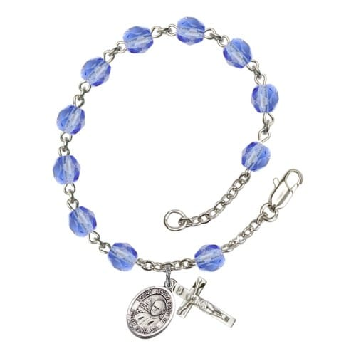 St. John Paul II Blue September Rosary Bracelet 6mm