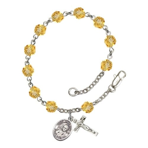 St. John Paul II Yellow November Rosary Bracelet 6mm