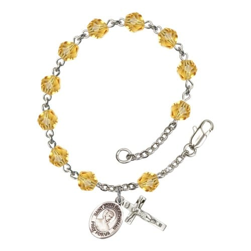 St. John Berchmans Yellow November Rosary Bracelet 6mm