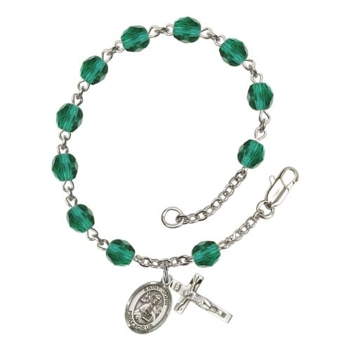 St. John The Apostle Teal December Rosary Bracelet 6mm