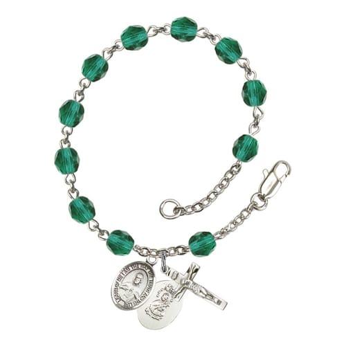 Scapular Teal December Rosary Bracelet 6mm