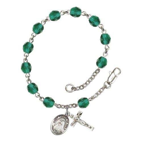 St. Teresa Of Avila Teal December Rosary Bracelet 6mm