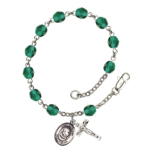 St. John Xxiii Teal December Rosary Bracelet 6mm