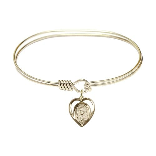 "Adult 7"" Oval Gold Plated Bangle Bracelet with Scapular Charm"