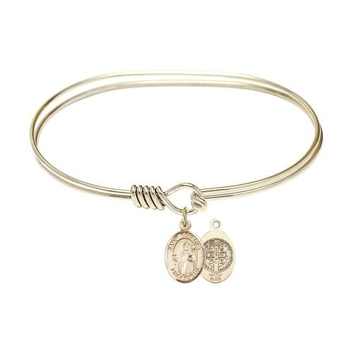"Adult 7"" Oval Gold Plated Bangle Bracelet with St. Benedict Medal Charm"