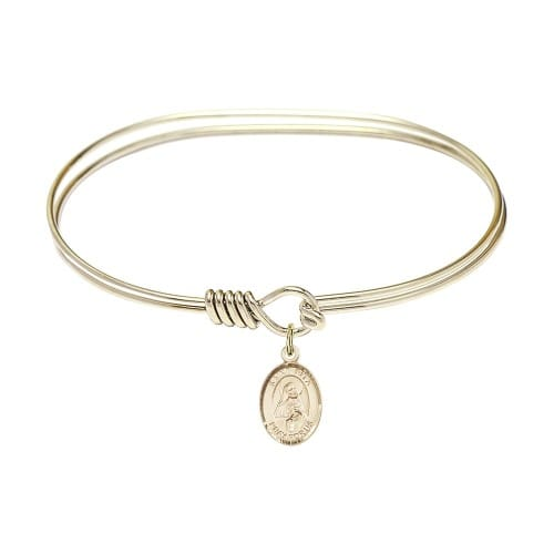 """Adult 7"""" Oval Gold Plated Bangle Bracelet with St. Rita of Cascia Medal Charm"""