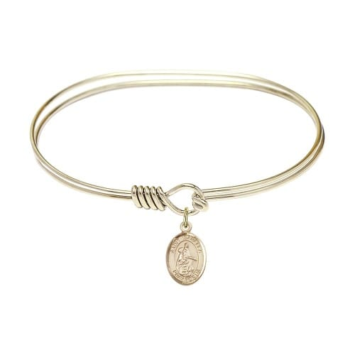 """Adult 7"""" Oval Gold Plated Bangle Bracelet with St. Isabella of Portugal Medal Charm"""