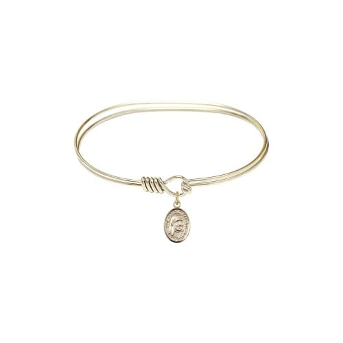 """Adult 7"""" Oval Gold Plated Bangle Bracelet with Blessed Teresa of Calcutta..."""