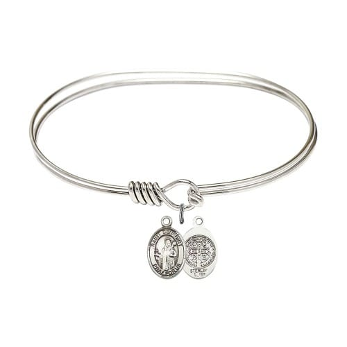 "Adult 7"" Oval Rhodium Plated Bangle Bracelet with St. Benedict Medal Charm"