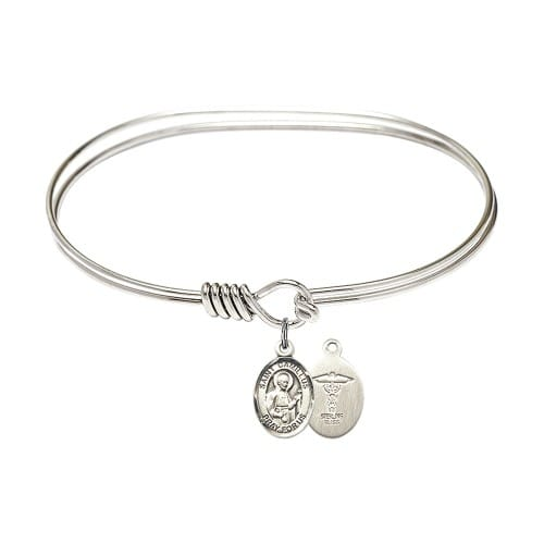 """Adult 7"""" Oval Rhodium Plated Bangle Bracelet with St. Camillus of Lellis/Doctors Medal Charm"""
