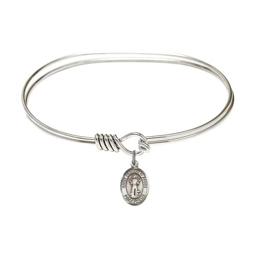 """Adult 7"""" Oval Rhodium Plated Bangle Bracelet with St. Francis of Assisi Medal Charm"""