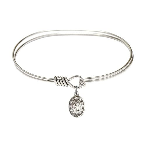 "Adult 7"" Oval Rhodium Plated Bangle Bracelet with St. John the Baptist..."