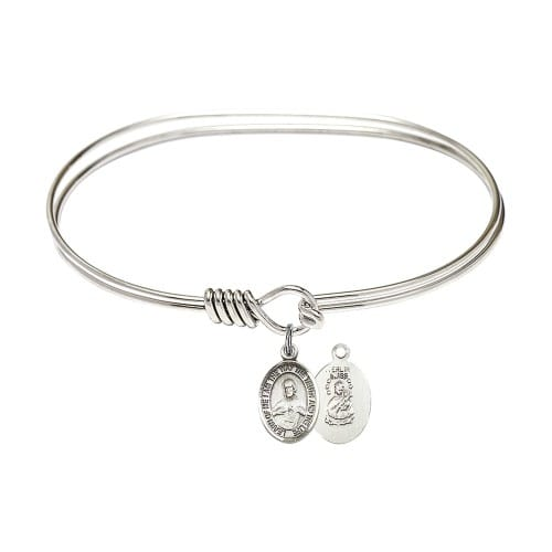 "Adult 7"" Oval Rhodium Plated Bangle Bracelet with Scapular Charm"