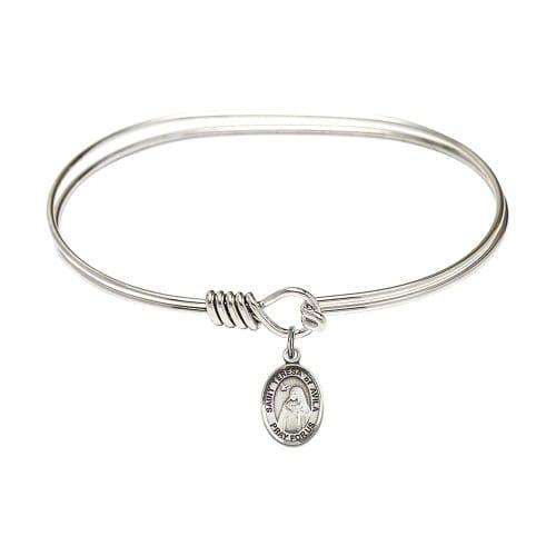 "Adult 7"" Oval Rhodium Plated Bangle Bracelet with St. Teresa of Avila..."