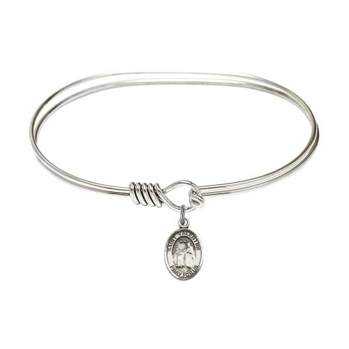 """Adult 7"""" Oval Oval Rhodium Plated Bangle Bracelet with St. Valentine of Rome Medal Charm"""