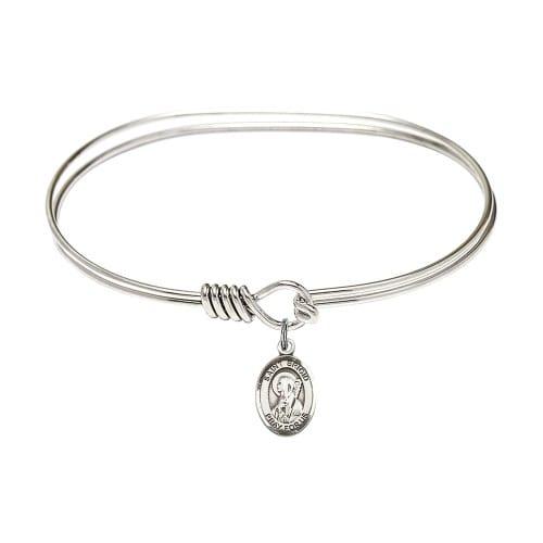 "Adult 7"" Oval Rhodium Plated Bangle Bracelet with St. Brigid of Ireland Medal Charm"