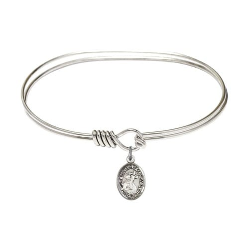 """Adult 7"""" Oval Rhodium Plated Bangle Bracelet with St. Bernard of Clairvaux Medal Charm"""